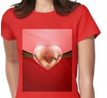 Golden rings in glass heart 2 Womens Fitted T-Shirt