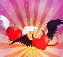 Good and evil hearts background by AnnArtshock