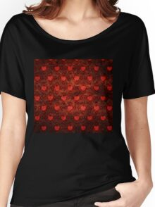 Grunge red pattern with hearts Women's Relaxed Fit T-Shirt