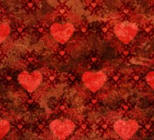 Grunge red pattern with hearts Sticker