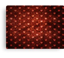 Grunge red pattern with hearts 2 Canvas Print