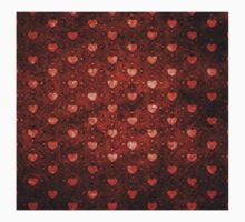 Grunge red pattern with hearts 2 Baby Tee