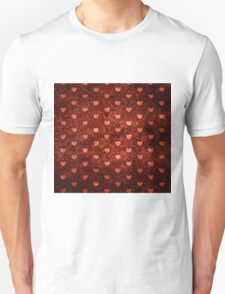 Grunge red pattern with hearts 2 Unisex T-Shirt