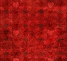 Grunge red pattern with hearts 3 Sticker