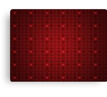 Grunge red pattern with hearts 5 Canvas Print