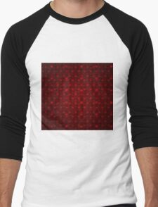 Grunge red pattern with hearts 6 Men's Baseball ¾ T-Shirt