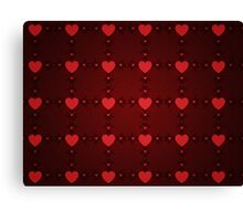 Grunge red pattern with hearts 7 Canvas Print