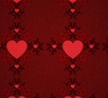 Grunge red pattern with hearts 7 Sticker