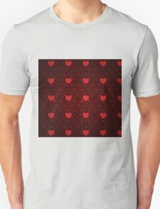 Grunge red pattern with hearts 8 Unisex T-Shirt