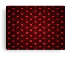 Grunge red pattern with hearts 10 Canvas Print
