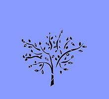 Tribal tree on blue by JoAnnFineArt