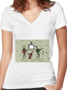 I Get By with a Little 'Elf' from My Friends Women's Fitted V-Neck T-Shirt