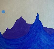 Blue and Purple Mountains on Tan Sky by hollycannell