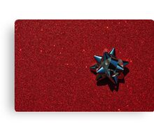 Christmas:  Silver Star on Millions of Red Sparkles Canvas Print