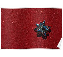 Christmas:  Silver Star on Millions of Red Sparkles Poster