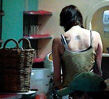 woman tatoo diner by hugh bridgeford