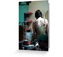 woman tatoo diner Greeting Card
