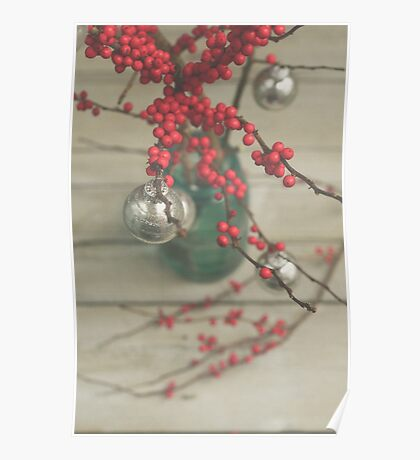 Winter Holly Berries Poster