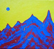 Pop Art Red and Blue Mountain with Yellow Sky by hollycannell