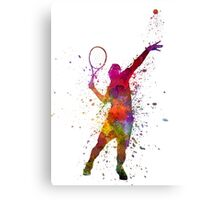 tennis player at service serving silhouette 01 Canvas Print