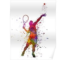 tennis player at service serving silhouette 01 Poster