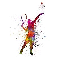 tennis player at service serving silhouette 01 Photographic Print