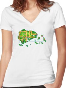 Hoenn map Women's Fitted V-Neck T-Shirt
