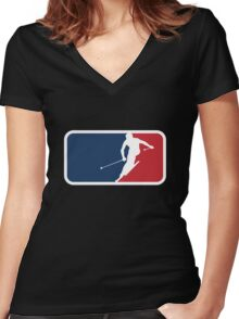 Skiing Women's Fitted V-Neck T-Shirt