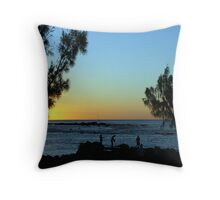 Sunset Fishermen Throw Pillow