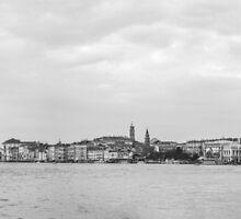 Venice Panorama Black and White by eddytkirk