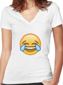 Emoji Crying With Laughter Face Women's Fitted V-Neck T-Shirt