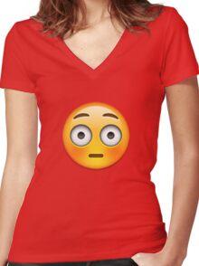 Emoji Flushed Face Women's Fitted V-Neck T-Shirt
