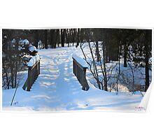 Footbridge to the Lake in Park Voyageur Poster