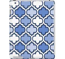Blue and White Quatrefoil Pattern iPad Case/Skin