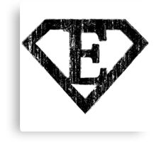 E letter in Superman style Canvas Print