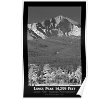 Longs Peak 14259 Ft Black and White Poster Poster