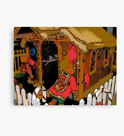 Comic Abstract Gingerbread House Canvas Print