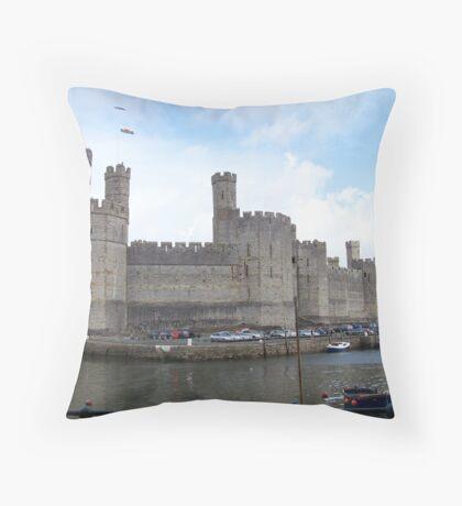 caernarfon castle. North Wales.  Throw Pillow