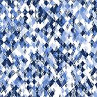 Blue White Harlequin Abstract by Ra12