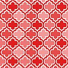 Four Shades Quatrefoil Pattern Red by Ra12