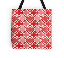 Four Shades Quatrefoil Pattern Red Tote Bag