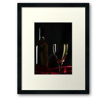 Wine Bottle and Glass Framed Print