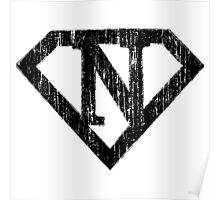 N letter in Superman style Poster