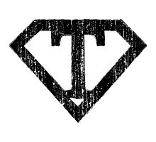 T letter in Superman style Photographic Print