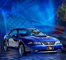 Blue Stang Poster by Leta Davenport