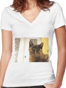 small cute cat Women's Fitted V-Neck T-Shirt