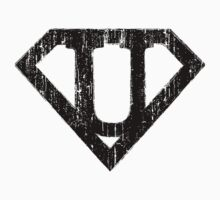 U letter in Superman style Kids Clothes