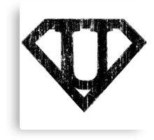 U letter in Superman style Canvas Print