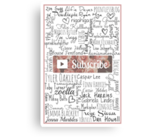 YouTuber Subscribe Floral Collage Canvas Print