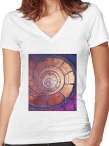 Spiral Staircase Women's Fitted V-Neck T-Shirt